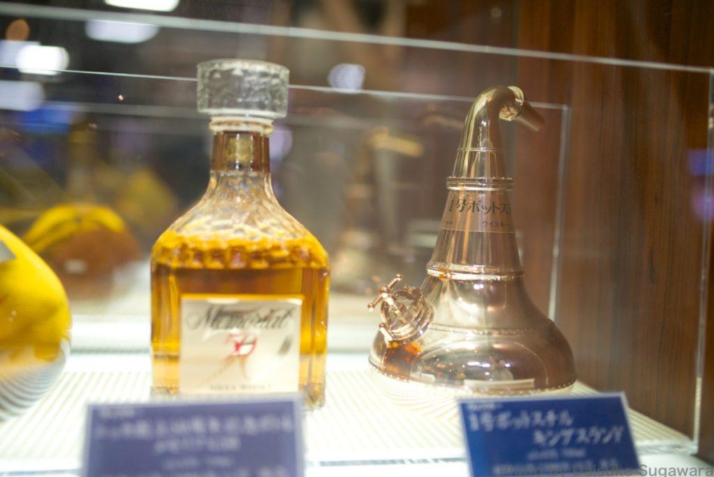 ニッカウイスキー仙台工場内の展示されているウイスキー