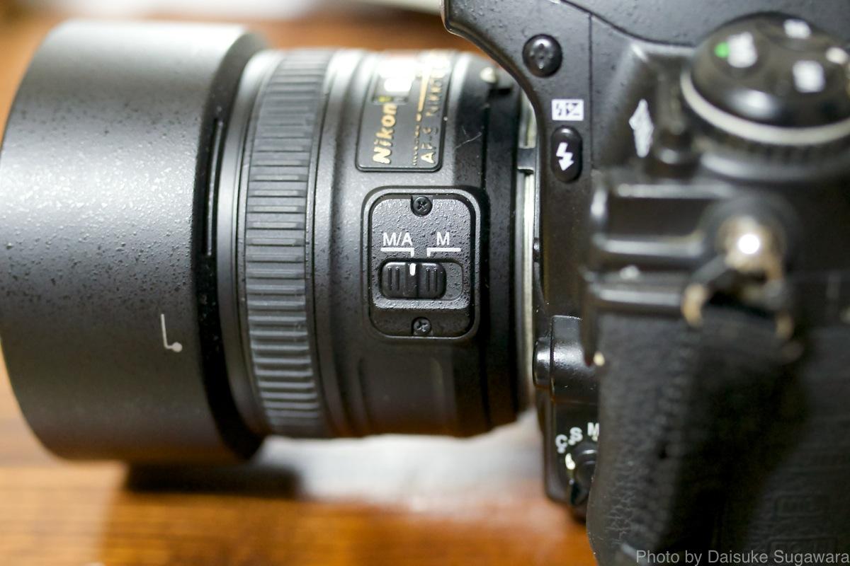 レンズのMF/AF切り替えスイッチ