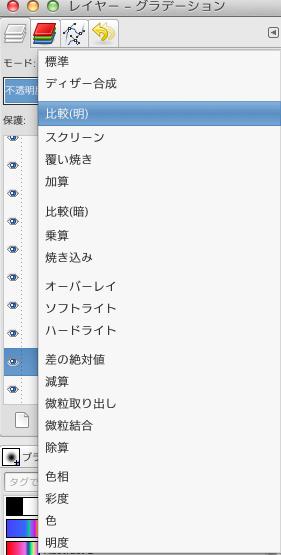 GIMPレイヤーパネルのブレンドモード